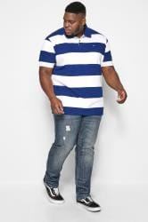 BadRhino Royal Blue & White Block Striped Polo Shirt