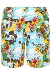 BAR HARBOUR Blue & Yellow Hawaiian Swim Shorts