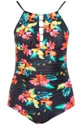 Black Floral Lattice Swimsuit