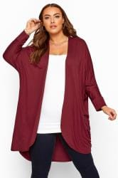 Berry Red Cocoon Cardigan