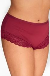Berry Red Lace Trim Briefs