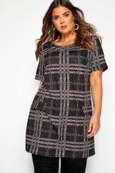Black Animal Check Tunic Dress