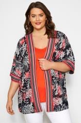 Black Animal & Palm Leaf Stripe Kimono