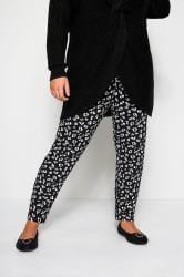 Black Animal Print Harem Trousers