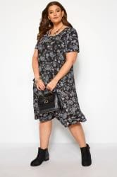 Black & Blue Paisley Drape Pocket Dress