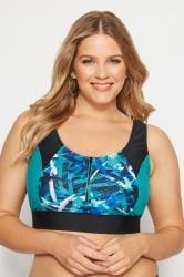 Black & Blue Printed Zip Bikini Top