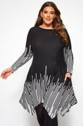 Black Stripe Border Hanky Hem Tunic Dress