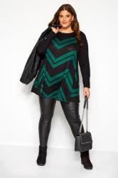 Black & Bottle Green Chevron Print Longline Top