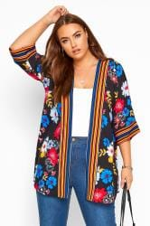 Black Bright Floral Print Cover Up