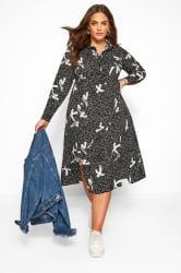 Black Brush Stroke Spot Shirt Dress