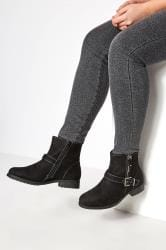 Black Buckled Ankle Boots In Extra Wide Fit