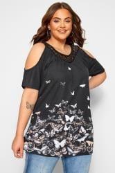 Black Butterfly Cold Shoulder Crochet Lace Top