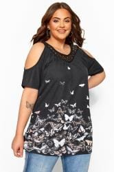 Black Butterfly Cold Shoulder Crochet Lace Top