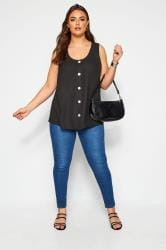 Black Button Front Vest Top