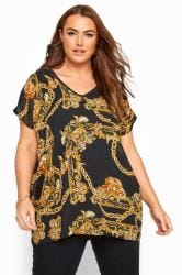 Black Chain Print Chiffon Top