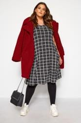 Black Check Drape Pocket Dress