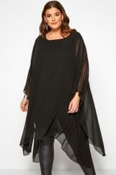 Black Chiffon Cape Top