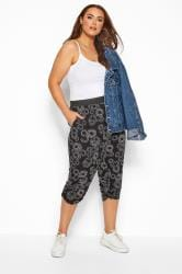 Black Circular Cropped Harem Trousers