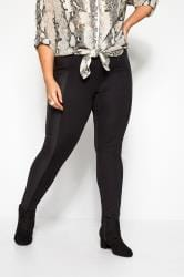 Black Coated Panel Ponte Leggings
