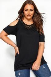 Black Cold Shoulder Crochet Lace Top