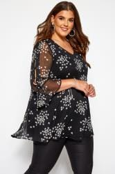 Black Crinkle Chiffon Star Print Swing Top