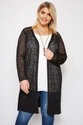Black Crochet Effect Longline Cardigan