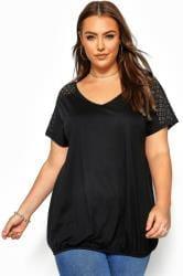 Black Crochet Lace Bubble Hem Top