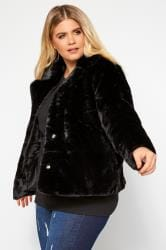 Black Cropped Faux Fur Jacket