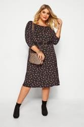 Black Ditsy Floral Swing Dress