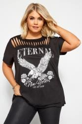 Black 'Eternal' Eagle Slogan Top