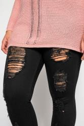 Black Extreme Distressed Cropped JENNY Jeggings