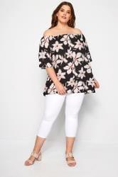 Black Floral Button Front Bardot