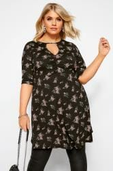 Black Floral Keyhole Ruched Dress