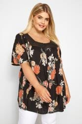 Black Floral Lace Button Up Blouse
