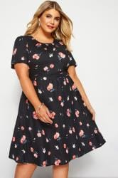 Black Floral Pleat Neck Dress