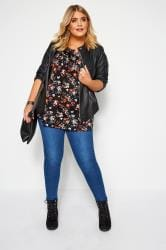 Black Floral Pleated Henley Top
