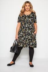 Black Floral Pocket Swing Dress