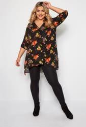 Zwarte blouse met bloemenprint in laag-look
