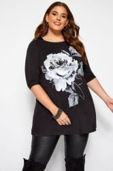 Black Floral Print Stud Swing Top
