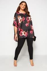 Black Floral Satin Cape Top