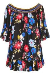 Black Floral Shirred Bardot Top