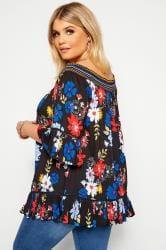 Black Floral Shirred Bardot Top