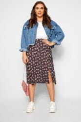 Black Floral Side Split Skirt
