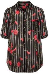 Black Floral Striped Boyfriend Shirt