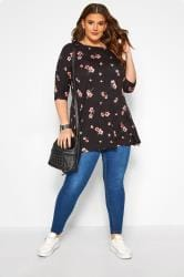 Black Floral Swing Top