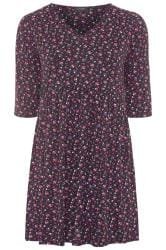 Black & Purple Floral Tunic Dress