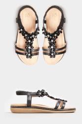 Sandalen met sierbloemen in zwart