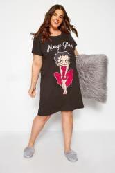 Zwart katoenen nachthemd met Betty Boop en 'Always Glam' slogan
