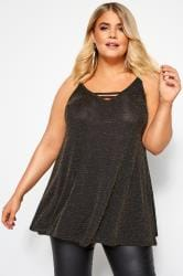Black & Gold Textured Metallic Cami Top