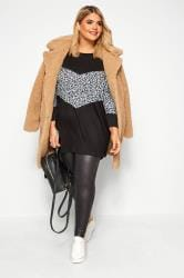 Black & Grey Leopard Colour Block Extreme Dipped Hem Top